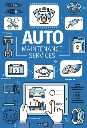 Car service of motor vehicle tune up and auto maintenance vector design. Car, motor oil and engine parts, wheel, tyre and battery, spanner, wrench and fuel pump, spark plug and piston thin line poster