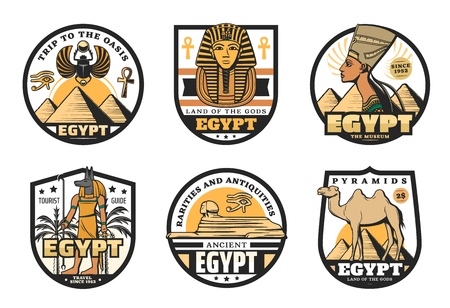 Egypt travel vector icons with ancient egyptian religion and culture symbols. Sphinx statue, pharaoh pyramids and tutankhamen sculpture, Anubis God, ankh sign and horus eye, desert camel and palm Foto de archivo - 120960577