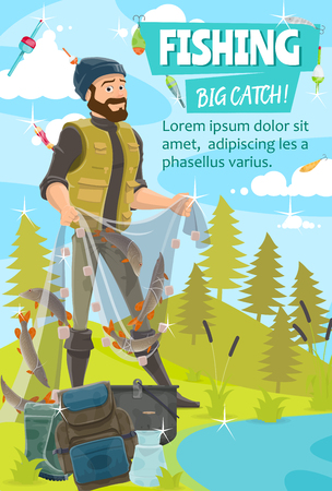 Fisherman catching fish with net vector design of fishing sport and outdoor hobbies. Fisher standing on bank of lake, river or pond with fishing net, pike and trout, hook, bait, tackle and backpack
