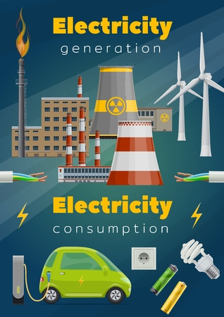 Electricity generation and consumption vector design of energy saving and eco power concept. Power station of nuclear and thermal energy, wind turbine, cable and wire, electric car, light bulb, socket Standard-Bild - 120960578
