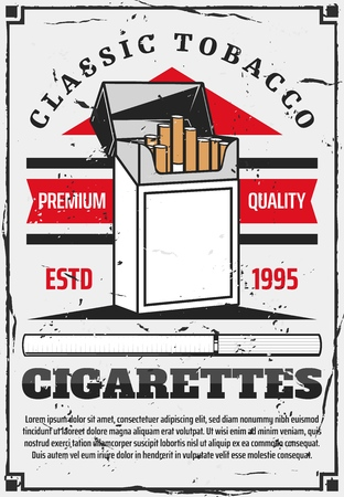 Cigarette pack vector design of tobacco product box with filtered cigarettes, blank label and red ribbon. Tobacco industry advertising poster, smoking addiction and bad habit themes