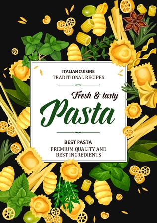 Pasta with Italian cuisine spices, olives and culinary herbs vector design. Spaghetti, rigatoni and macaroni, penne, fettuccini and ravioli, gnocchi, conchiglie and orzo with basil, rosemary and thyme
