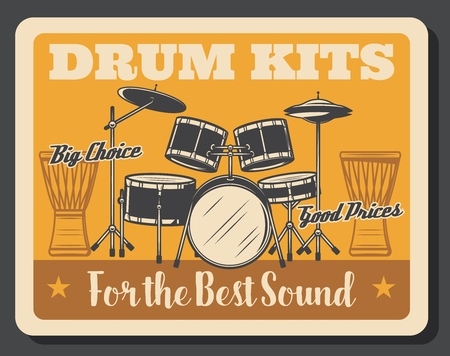 Drum kit, rock music percussion instrument vector design. Professional set of snare and bass drums, floor,  crash and hit hat cymbals with ethnic African djembe. Musical shop poster Illustration