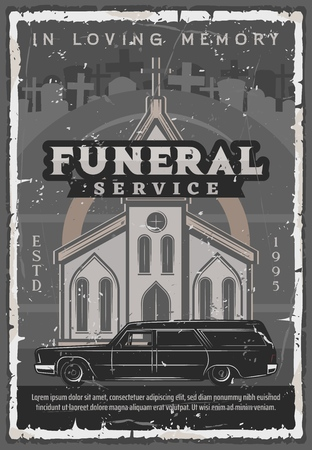 Funeral service vintage vector poster of medieval church or cathedral with hearse car, cemetery crosses, tombstones and gravestones. Burial and memorial service themes design Illustration