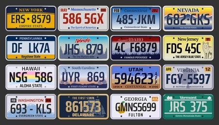 Car numbers or vehicle license plates vector design. Metal or plastic registration plates for identification of auto, trucks and motorcycles in USA states, american California, Hawaii and Michigan Banque d'images - 120647969