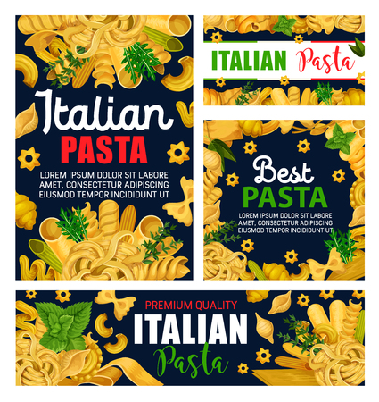 Pasta or Italian macaroni with green herbs vector design. Spaghetti, farfalle and penne, fusilli, fettuccine and conchiglie, cannelloni, noodle and lasagna menu frame with rosemary, basil, arugula
