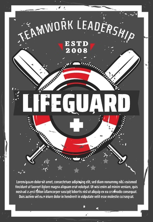 Lifeguard station or tower retro vector poster with lifebuoy, nautical ropes and paddles. Professional equipments of ocean or sea beach life guard. Lifesaving service design 일러스트