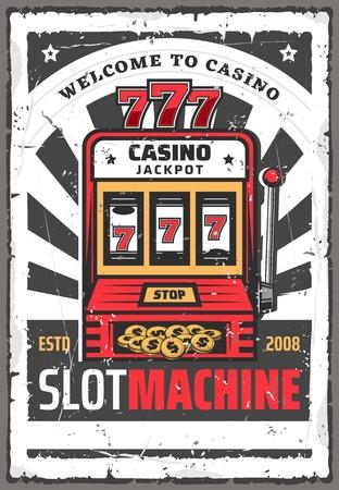 Cartel de vector retro de la máquina tragamonedas de casino spin de un bandido armado con jackpot lucky win 777 combinación en pantalla, dinero y monedas de oro. Industria del juego, casino en línea o diseño de fortuna