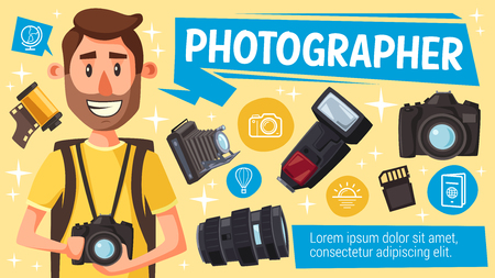 Photographer with photography equipment, digital camera, flash and lens, memory card, vintage camera and film. Vector. Photo journalist and paparazzi creative profession design Çizim