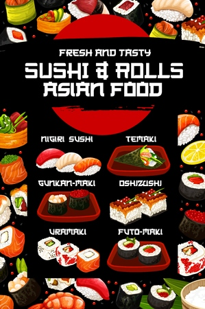 Japanese sushi vector menu with asian cuisine rice, fish and seafood ingredients. Salmon rolls, shrimp and tuna nigiri, prawn temaki, tuna, caviar and seaweed gunkan, futomaki, uramaki and oshizushi