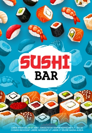 Sushi bar vector menu of japanese food. Nigiri, philadelphia and california rolls with rice, salmon fish and shrimp, seafood hosomaki, caviar gunkan, uramaki, maki and futomaki with tuna and avocado Illustration