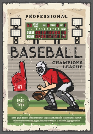 Baseball sport championship match vector design of player with team uniform, glove and protective helmet on play field with scoreboard. Catcher crouching behind home plate to receive ball from pitcher
