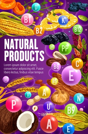 Dried fruits, nuts and cereals rich of vitamins and minerals vector design. Health benefits and nutrition facts of date, fig and prune, apricot, banana and pineapple, wheat, peanut, hazelnut and corn Illusztráció
