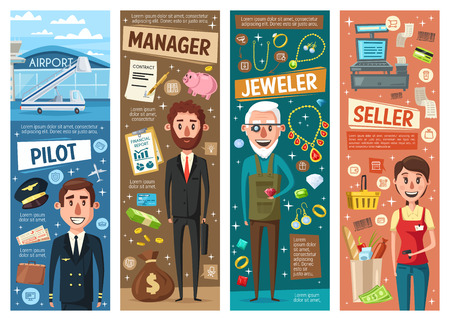 Pilot, seller, manager and jeweller occupation vector banners with professional workers. Professions of financial advisor, cashier, goldsmith and airman. Finance, retail, craft and transport industry