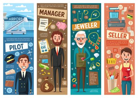 Pilot, sprzedawca, menedżer i jubiler zawód banery wektorowe z profesjonalnymi pracownikami. Zawody doradcy finansowego, kasjera, złotnika i lotnika. Branża finansowa, handlowa, rzemieślnicza i transportowa