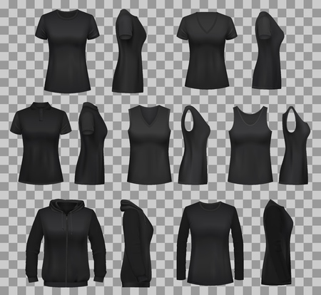 Black shirt vector templates with blank 3d mockups of women clothes. Front and side view of sleeveless polo and tank top, sweatshirt, long sleeve shirt and sport hoodie on transparent background Illustration
