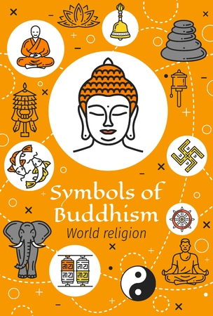 Buddhism religious symbols vector poster with oriental religion thin line icons. Buddha, buddhist and yoga, lotus, tibetan monk and dharma wheel, fishes, yin yang and prayer wheels, ritual bell, stupa