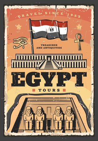 Egypt travel tour vector design with ancient egyptian temple of Pharaoh Ramesses. Abu Simbel religious building with facade statues, flag, ankh symbol and horus eye. Egypt architecture landmark poster