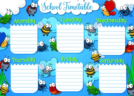School timetable, week schedule and student class table weekly template. Vector school timetable with clouds sky and cartoon insects butterfly, bee or bumblebee and mosquito, grasshopper and ladybug Illusztráció