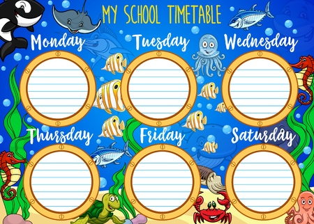 학교 시간표, 만화 수중 및 선박 현창 창 프레임. 수중 세계, 바다 동물 및 물고기가 포함된 벡터 학생 수업 주간 테이블 또는 학교 시간표 차트 템플릿