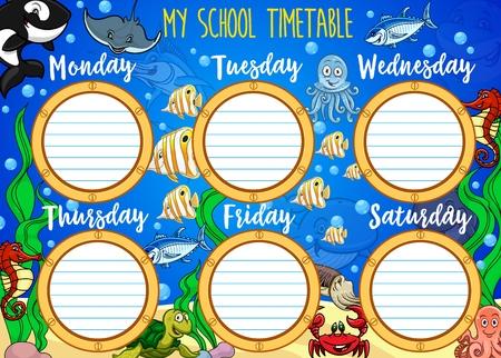Schoolrooster, cartoon onderwater en scheepsraamkozijnen. Vector student lessen wekelijkse tabel of school tijdschema grafieksjabloon met onderwaterwereld, zeedieren en vissen