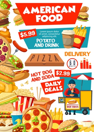 American fast food restaurant and street food cart vector design. Hamburger, hot dog and pizza, fries, soda and chicken nuggets, coffee, popcorn and cheese sandwich, takeaway junk snacks menu