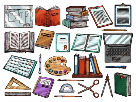 School books and stationery sketch icons. Vector Back to School symbols of math ruler with scissors and pencil, painting watercolors with computer and graduation diploma, copybook bookmark and pen Zdjęcie Seryjne - 123282101