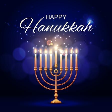 Hanukkah menorah 3d disegno vettoriale di lampada ebraica con candele fiammeggianti e stella di David. Candeliere o candelabro dorato del festival delle luci di religione dell'ebraismo. Cartolina d'auguri di felice festa di Hanukkah Vettoriali