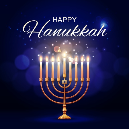 Hanukkah menorah 3d vector design of jewish lamp with flaming candles and Star of David. Judaism religion Festival of Lights golden candlestick or candelabrum. Happy Hanukkah holiday greeting card Zdjęcie Seryjne - 121133763