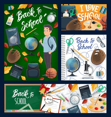 Back to School, education posters and banners with green chalkboard. Vector back to school stationery pencil, book and pens, student boy in class with backpack, college baseball ball and autumn leaves