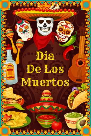 Dia de los Muertos Mexican holiday party calavera skulls with mustaches in sombrero. Vector Day of Dead or Dia de los Muertos fiesta guitar, tequila and burrito or nachos and guacamole avocado Ilustração