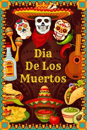 Dia de los Muertos mexikanische Feiertagsparty-Calavera-Schädel mit Schnurrbärten in Sombrero. Vector Day of Dead oder Dia de los Muertos Fiesta-Gitarre, Tequila und Burrito oder Nachos und Guacamole-Avocado
