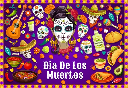 Dia de los Muertos Mexican holiday party food and drinks, traditional fiesta symbols. Vector Dia de los Muertos calavera skulls in sombrero, jalapeno chili pepper, guitar and Mexican maracas
