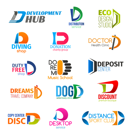 Corporate identity letter D business icons. Vector development and transportation, design and equipment, donation and health. Shopping and education, finance and travel, veterinary and technology