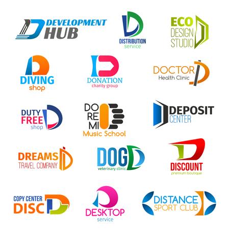 Icone di affari della lettera D di identità corporativa. Sviluppo e trasporto di vettori, design e attrezzature, donazione e salute. Shopping e istruzione, finanza e viaggi, veterinaria e tecnologia Vettoriali