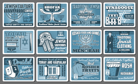 Judaism religion, Jewish culture and Israel tradition posters. Vector Hanukkah Menorah, David Star or Torah and rabbi priest, Jewish religious community synagogue and Hamsa hand amulet Ilustracja