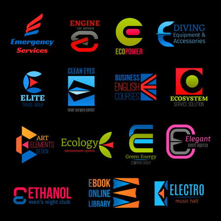 Letter E trend modern icons for business company, service center or entertainment club. Vector E symbols for medical emergency, eco power and energy, car garage and diving sport or music hall