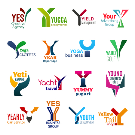Corporate identity letter Y business icons. Vector agency and ecology, management and advertising, fashion, technology and sport. Camping, travel and food, entrepreneurship and transport, shopping