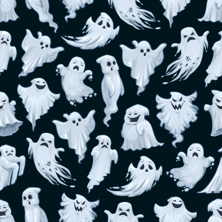 Halloween ghost pattern. Vector Trick or Treat Halloween party seamless background of cartoon white evil ghost or poltergeist monsters