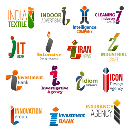 Corporate identity letter I business icons. Vector textile and advertising, marketing and cleaning, technology and design, news and craft. Banking and investigation, software and innovation, insurance Stok Fotoğraf - 121133779