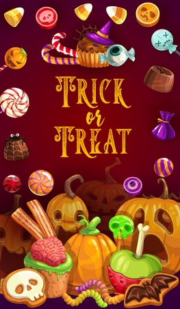 Trick or treat, Halloween party confectionery food. Vector sweets, candy pumpkins and lollipops, jelly worms, skulls. Cookies in shape of bat and skeleton, cakes with bones, horrible chocolate snacks