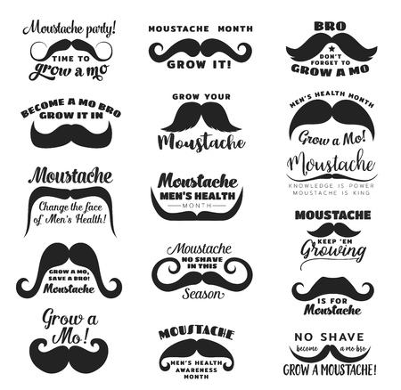 Black moustache or mustache vector icons with prostate cancer awareness and men health month in November lettering quotes. Men disease prevention campaign emblems or charity event signs design Ilustração