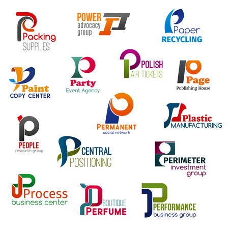 Corporate identity letter P business icons. Vector supply and jurisprudence, ecology and typography, entertainment and transportation. Internet and manufacturing, science and finance, perfumery Vectores