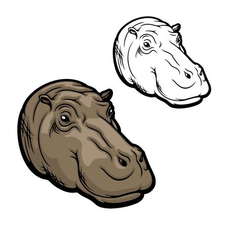 Hippopotamus head, hippo muzzle side, wild African animal icon. Vector hippopotamus realistic head, safari zoo or hunting trophy animal and sport club mascot sign