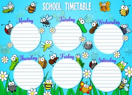 Calendario semanal con días y bichos divertidos de dibujos animados. Vector horario escolar o horario con lindos insectos voladores, flores y césped. Horario educativo y escarabajos, día laborable de la semana, espacio vacío