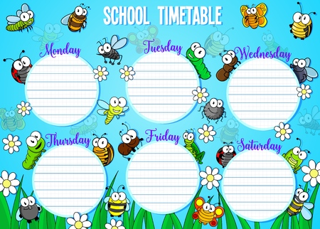 Weekly calendar with days and cartoon funny bugs. Vector school timetable or schedule with cute flying insects, flowers and grass. Educational time table and beetles, working day of week, empty space