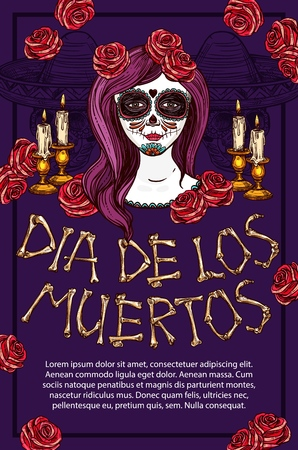 Dia de los Muertos Mexican traditional holiday sketch poster. Vector Dia de Muertos skeleton bones lettering, traditional celebration symbol of face tattoo calavera and skull in sombrero