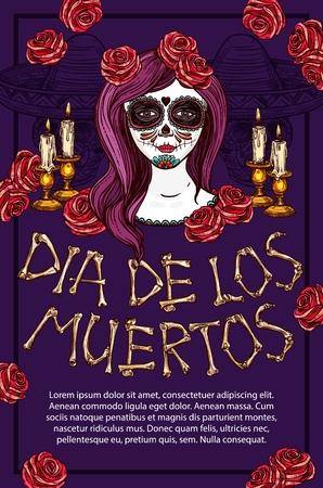 Dia de los Muertos Mexican traditional holiday sketch poster. Vector Dia de Muertos skeleton bones lettering, traditional celebration symbol of face tattoo calavera and skull in sombrero