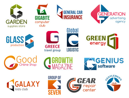 Corporate identity letter G business icons. Vector shopping and technology, insurance and advertising, production and travel. Logistic and energy, typography and software, entertainment and repairing