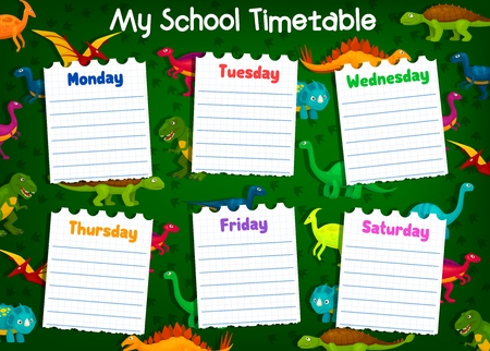 School timetable and weekly schedule vector template. Student lesson plans with cute cartoon dinosaurs and dino tracks on background. Education design